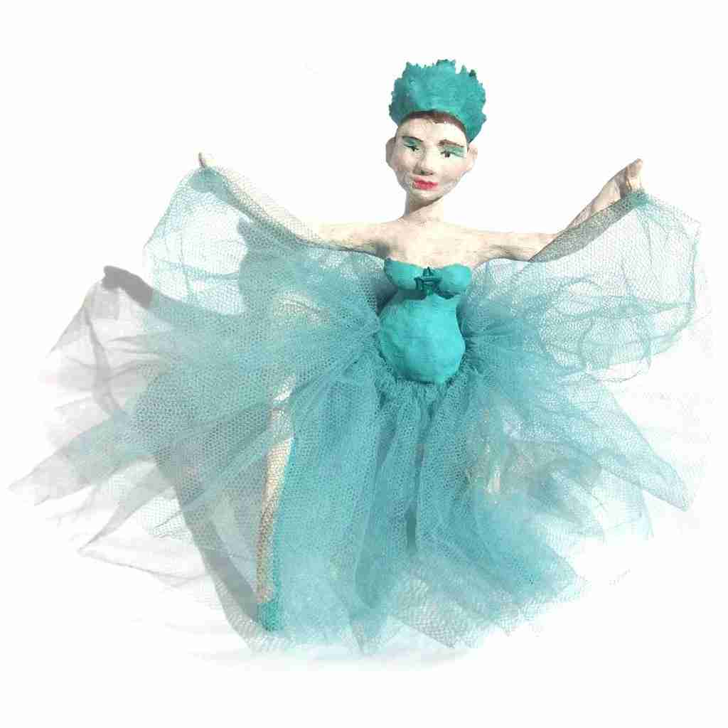 teal ballerina sculpture by Emma Plunkett