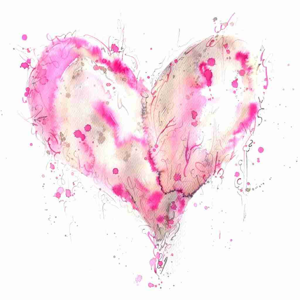 Pink Love Heart watercolor by Emma Plunkett