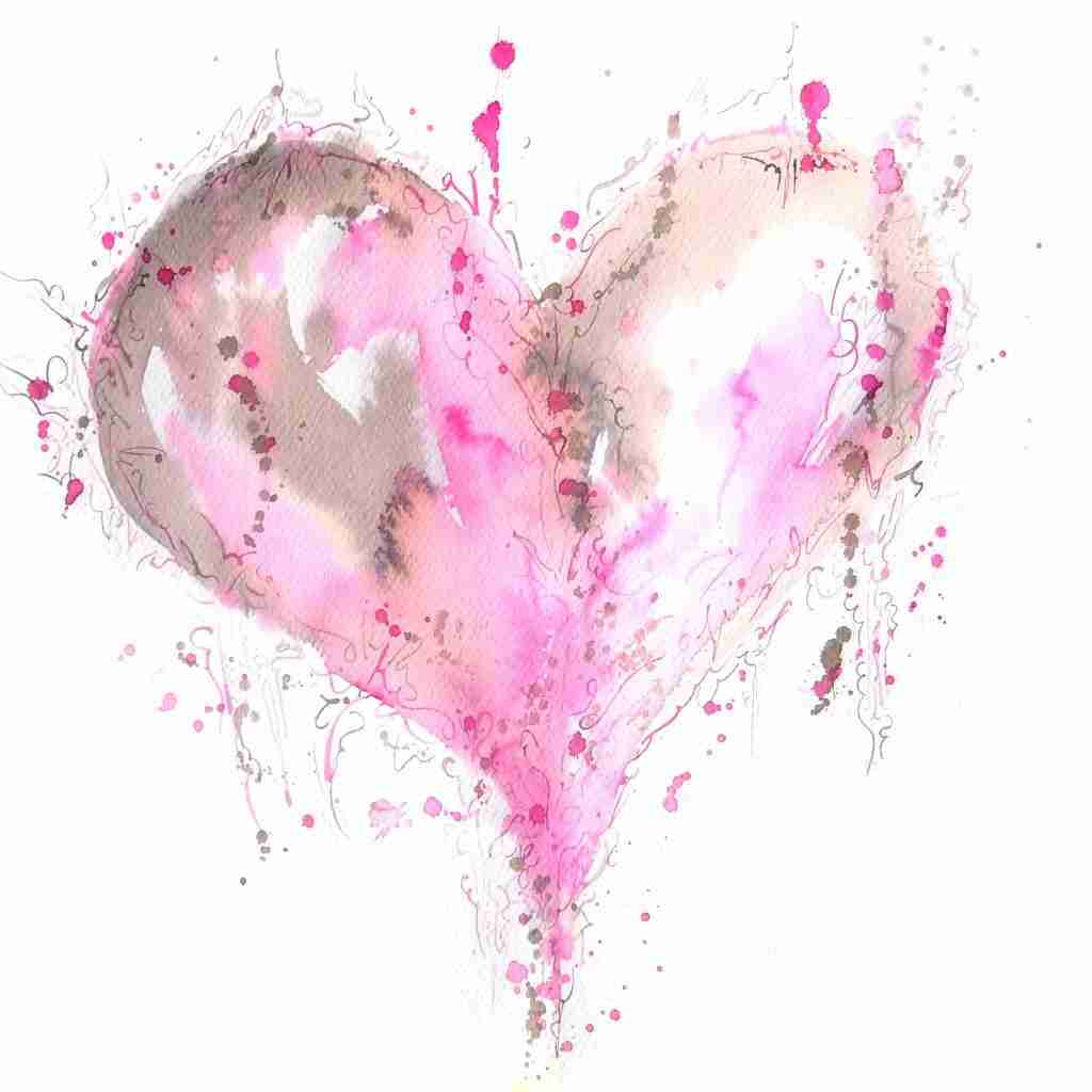 Pink Love Heart Watercolour by Emma Plunkett