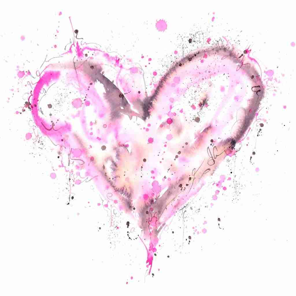 pink love heart painting by Emma Plunkett art