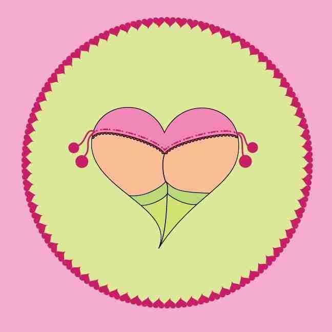 Cheeky Heart Pompom Knickers by Emma Plunkett Art