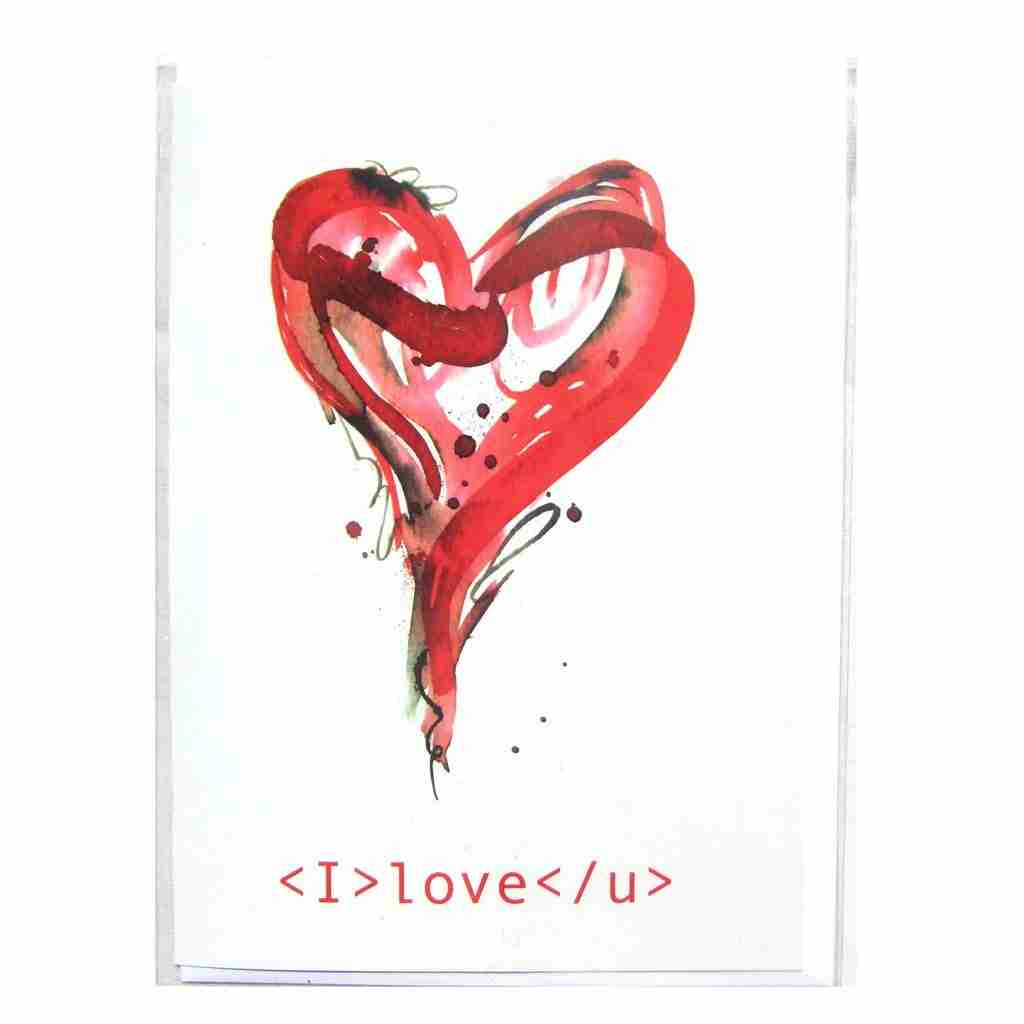 I Love U Heart Greeting Card by Emma Plunkett