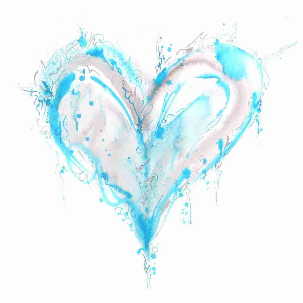gentle blue love heart by Emma Plunkett