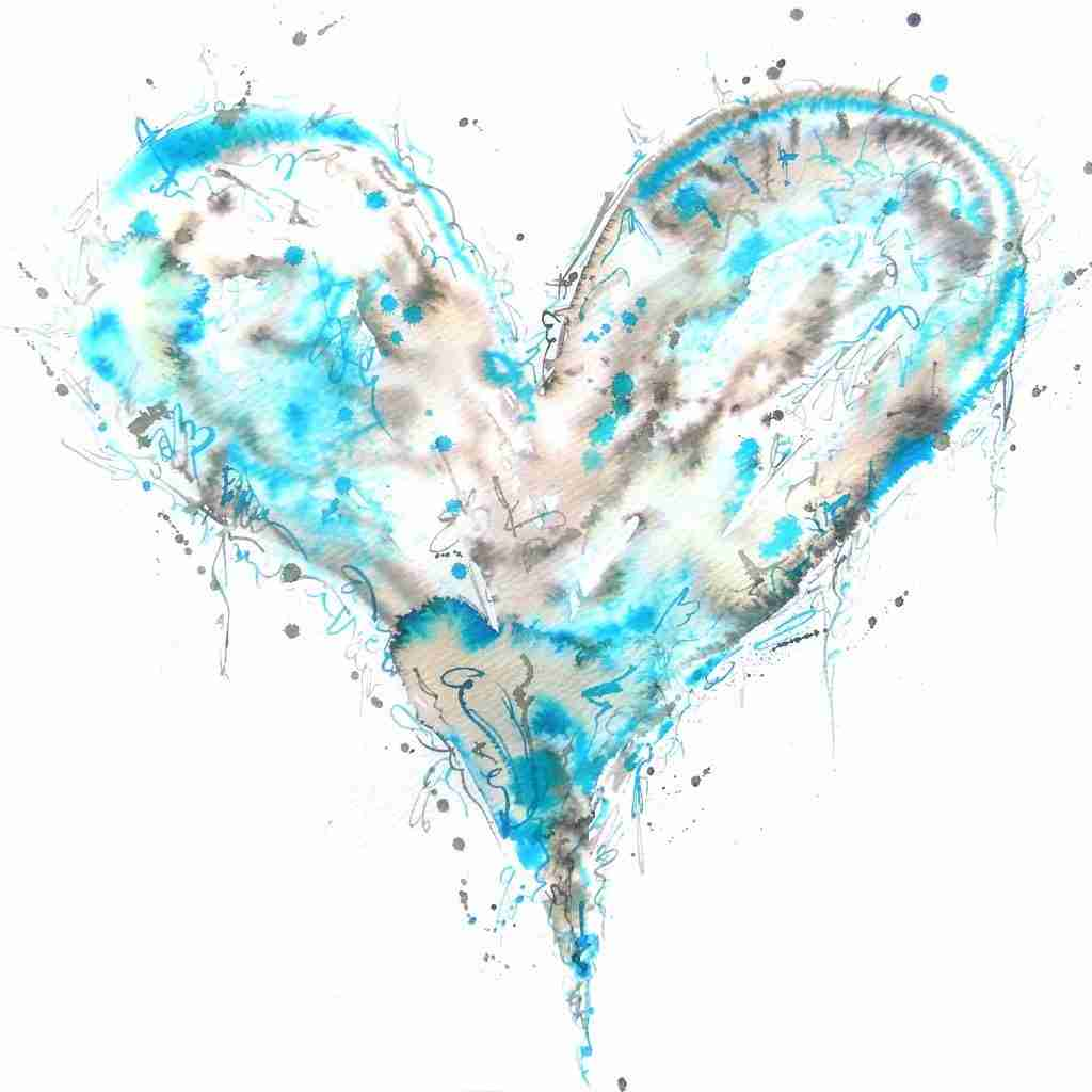 Blue watercolor love heart painting by Emma Plunkett