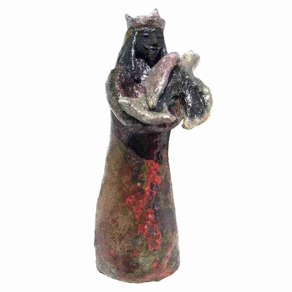 Arab king raku sculpture by Emma Plunkett