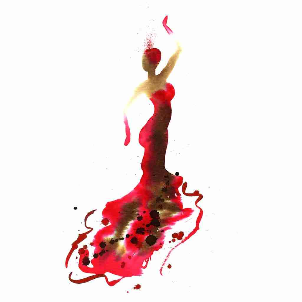 beautiful flamenco dancer painting by Emma Plunkett