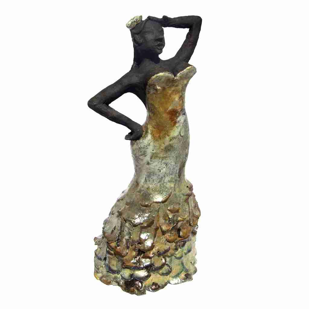 golden flamenco raku sculpture by Emma Plunkett