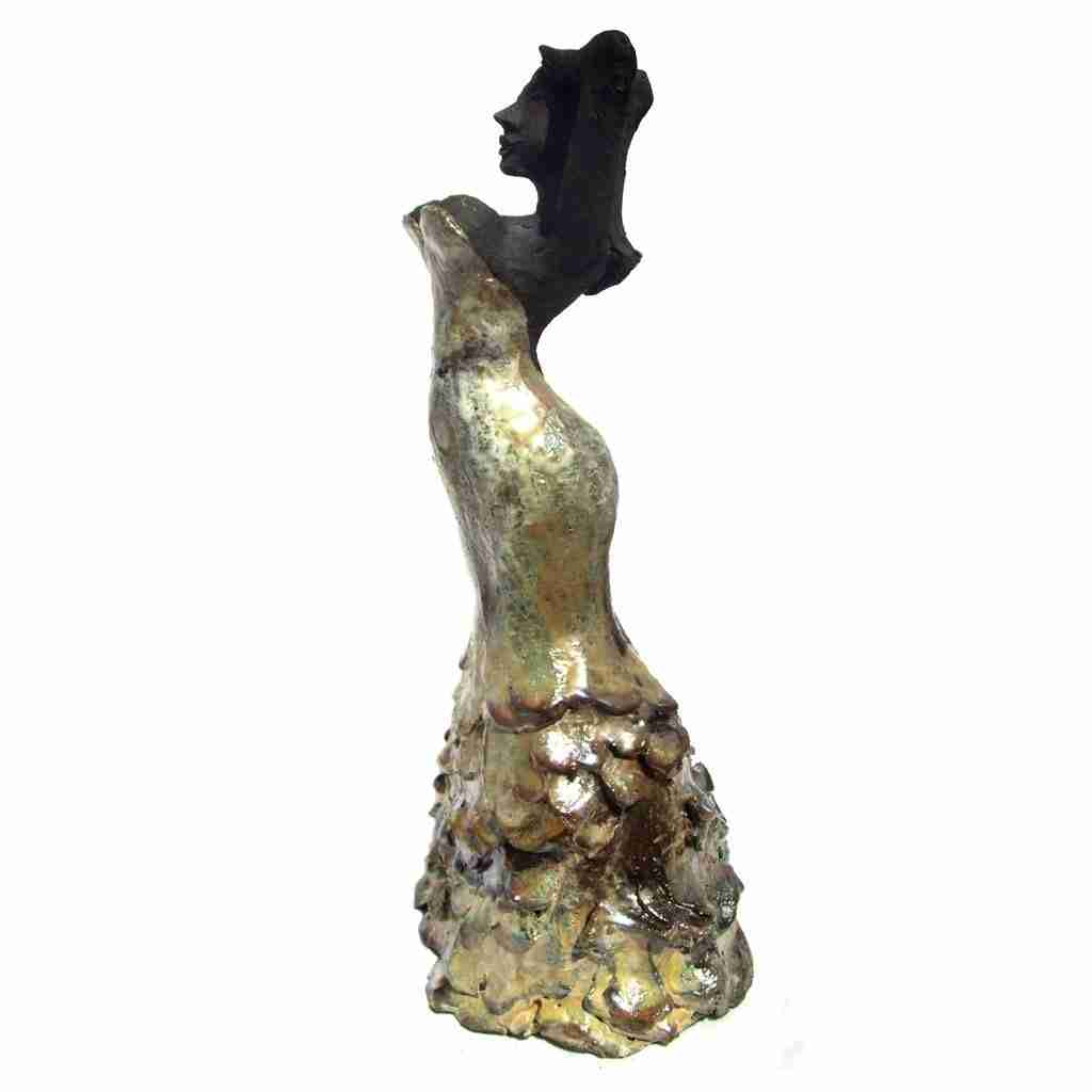 golden flamenco sculpture by Emma Plunkett