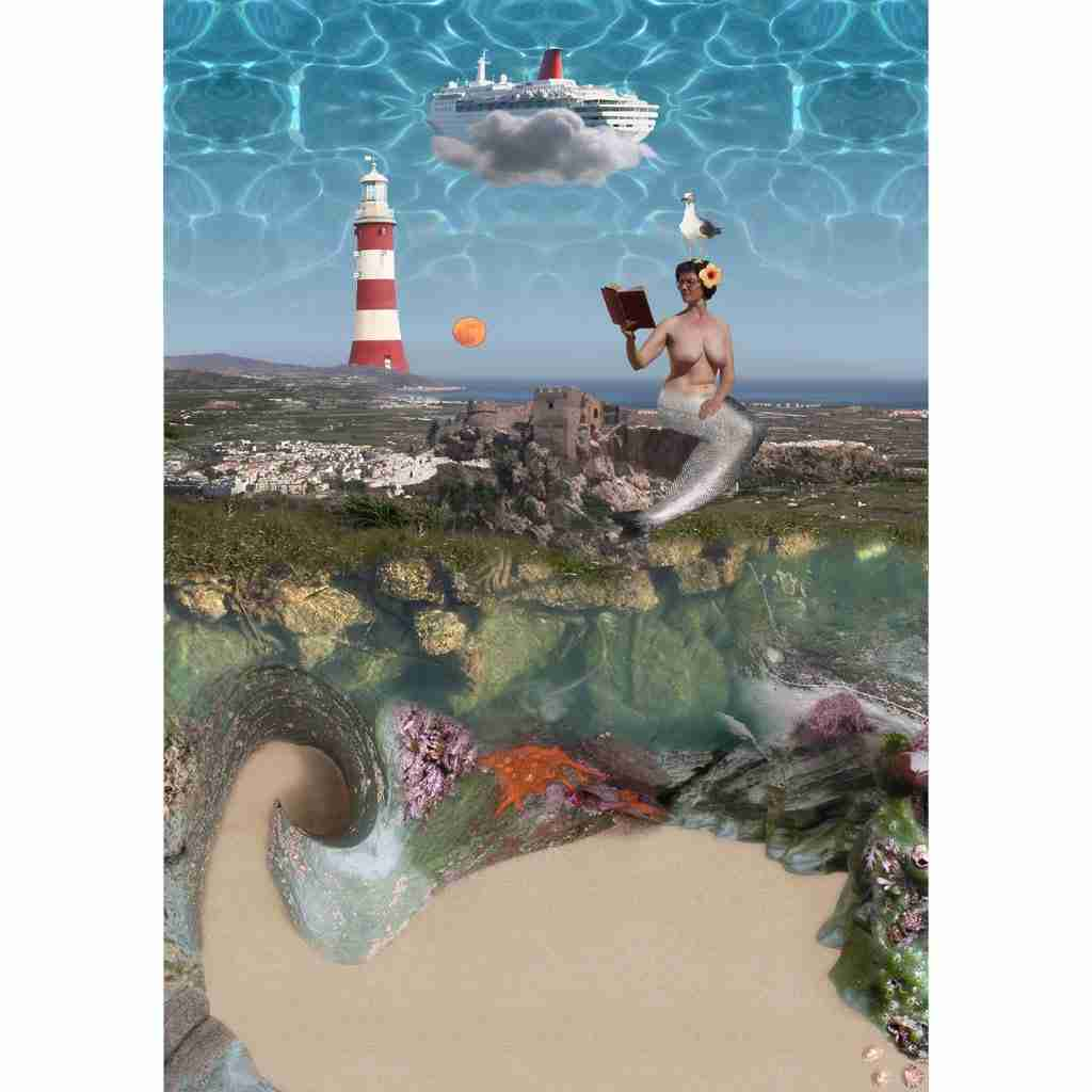 mermaid photomontage with salobrena castle