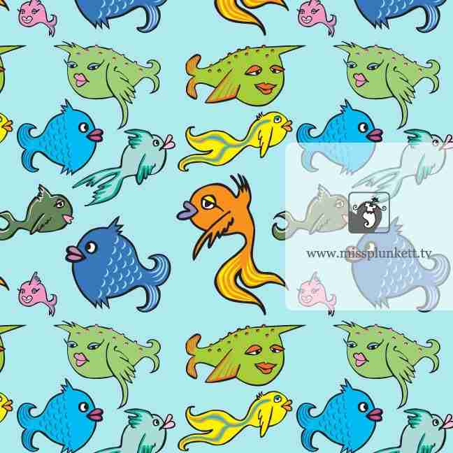 Fish Fish repeat Pattern by Emma Plunkett