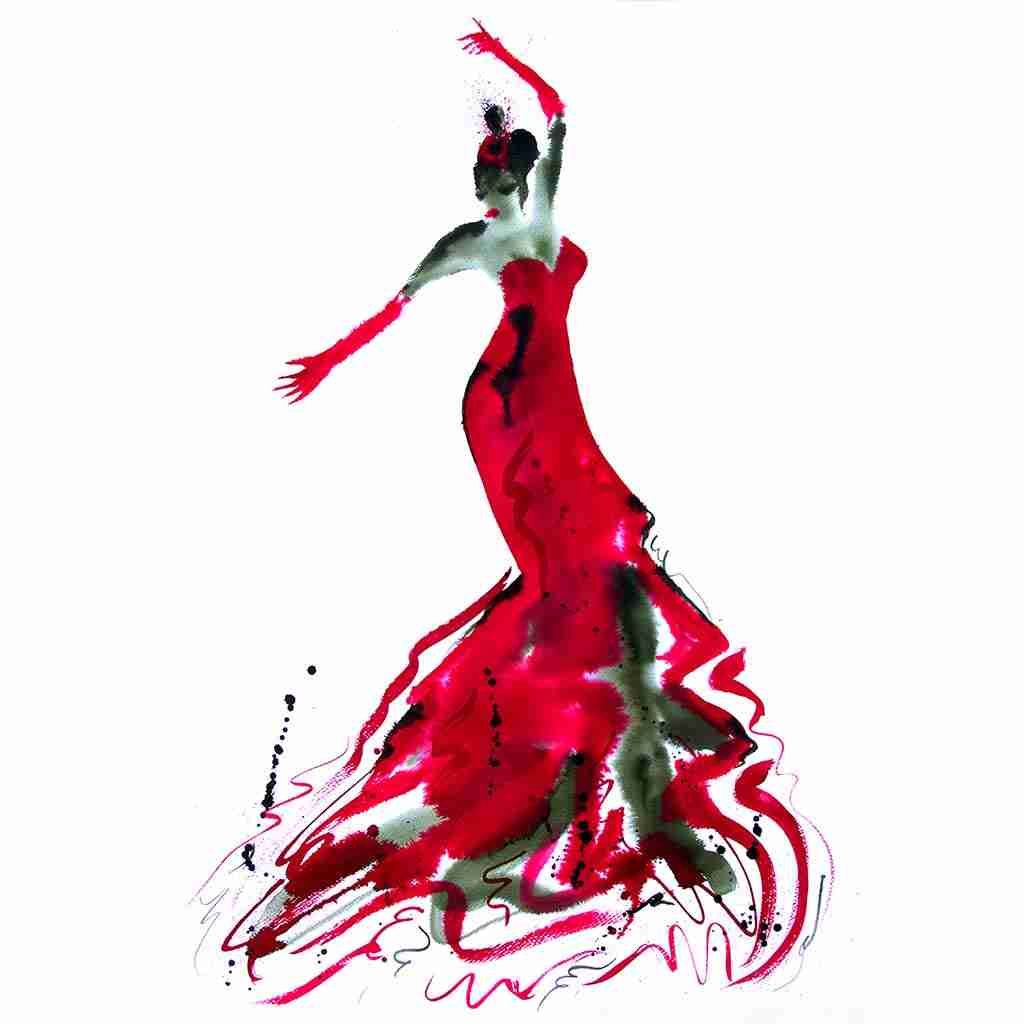 flamenco watercolor painting