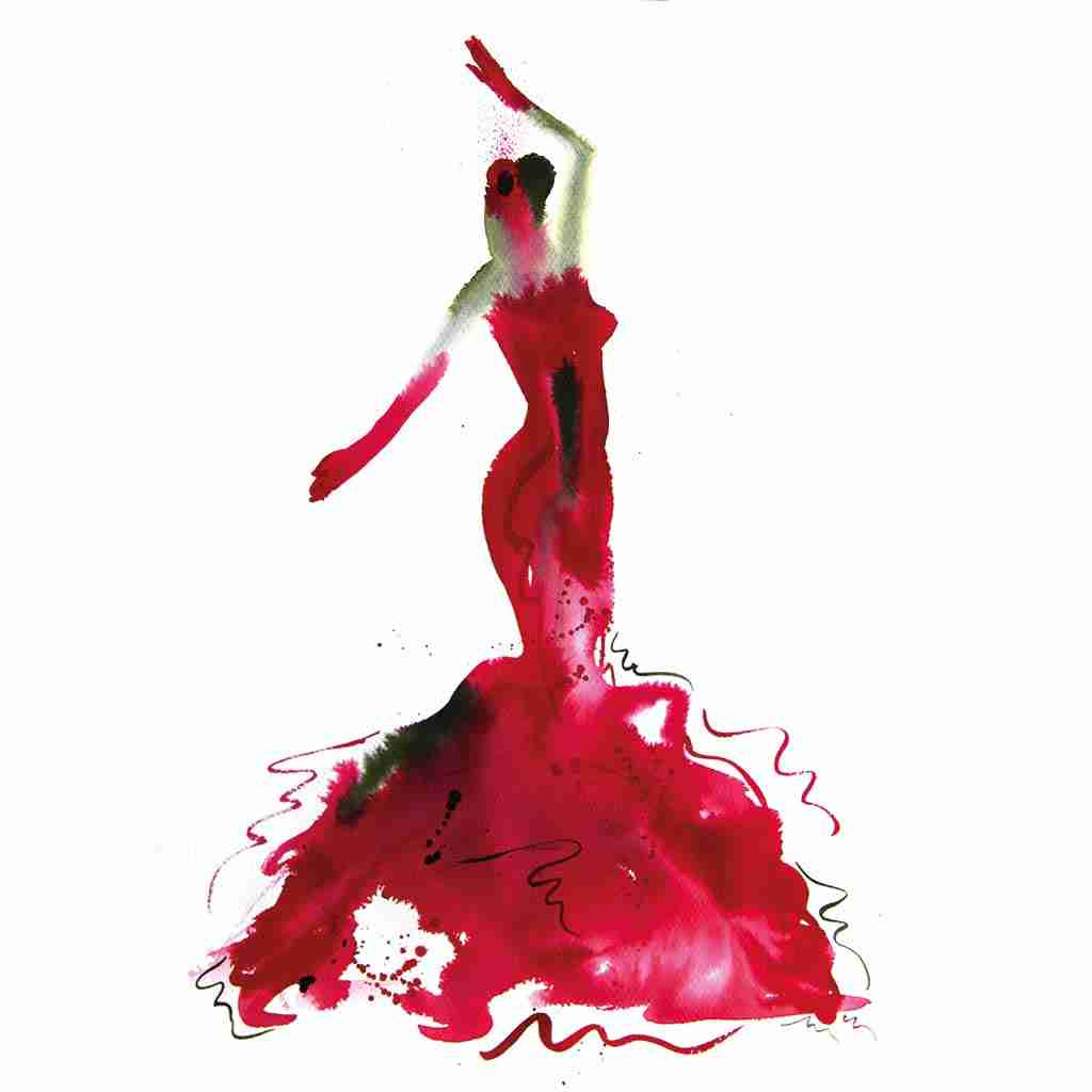red flamenco dancer watercolor