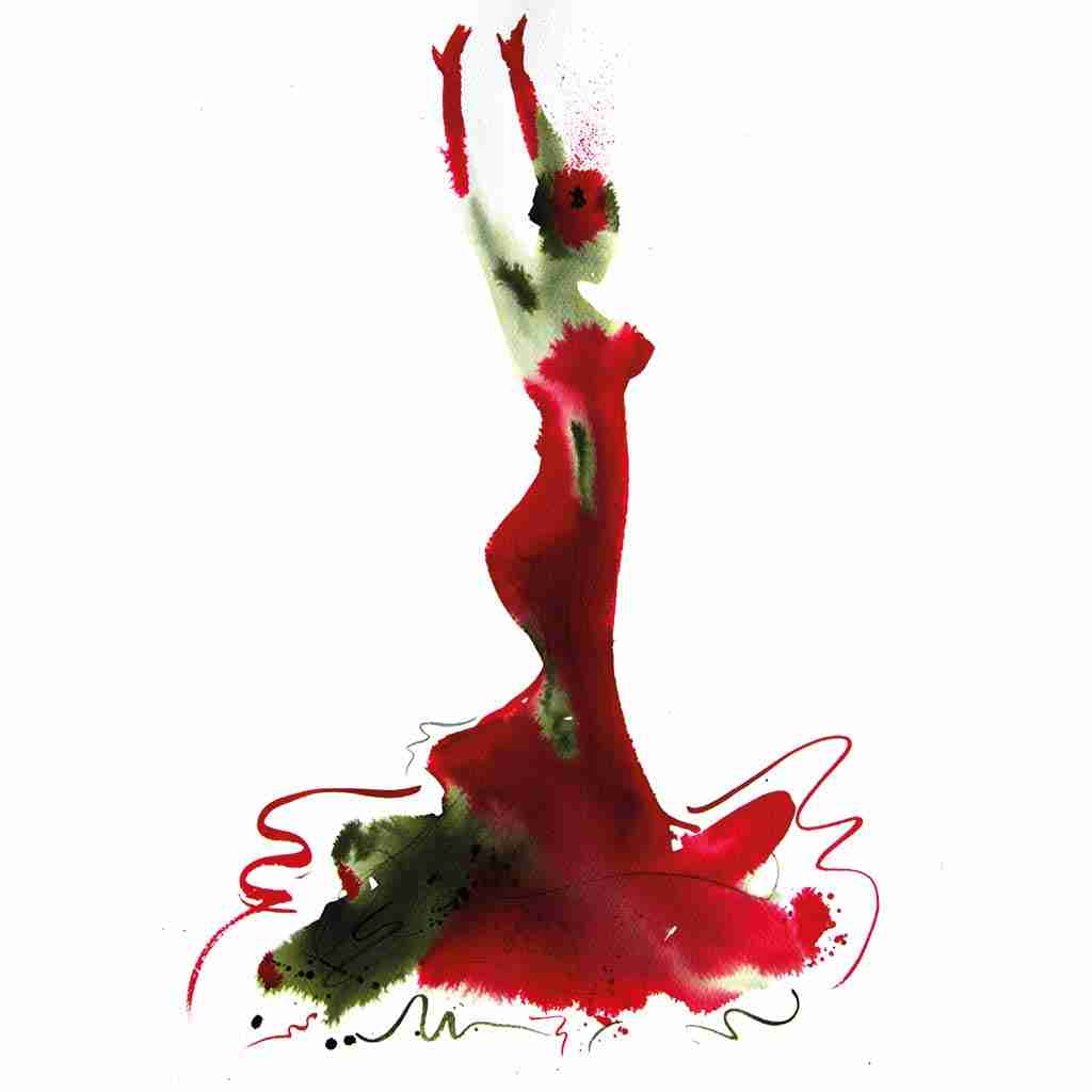 A3 flamenco dancer in a red dress