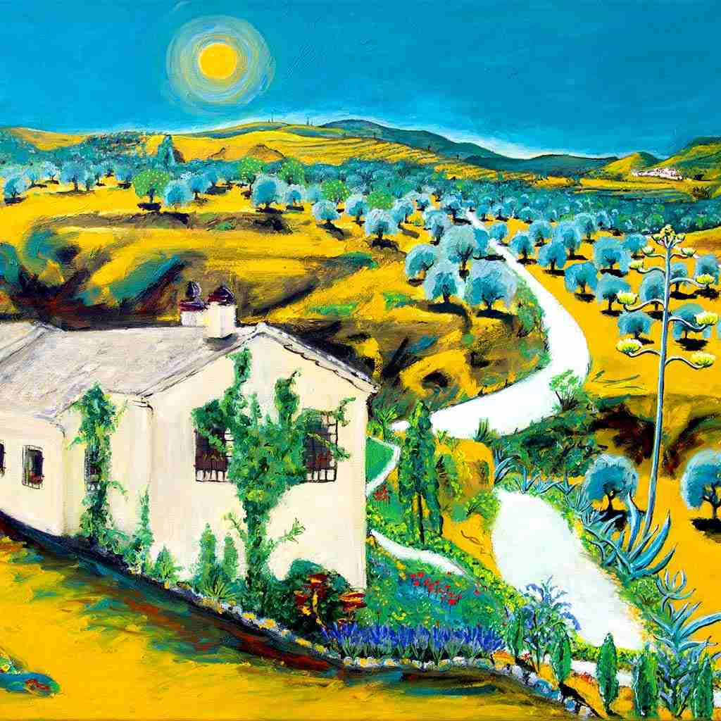 Landscape painting of Valle de Lecrin by Emma Plunkett