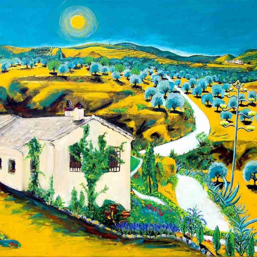 Landscape painting of Valle de Lecrin by Emma Plunkett