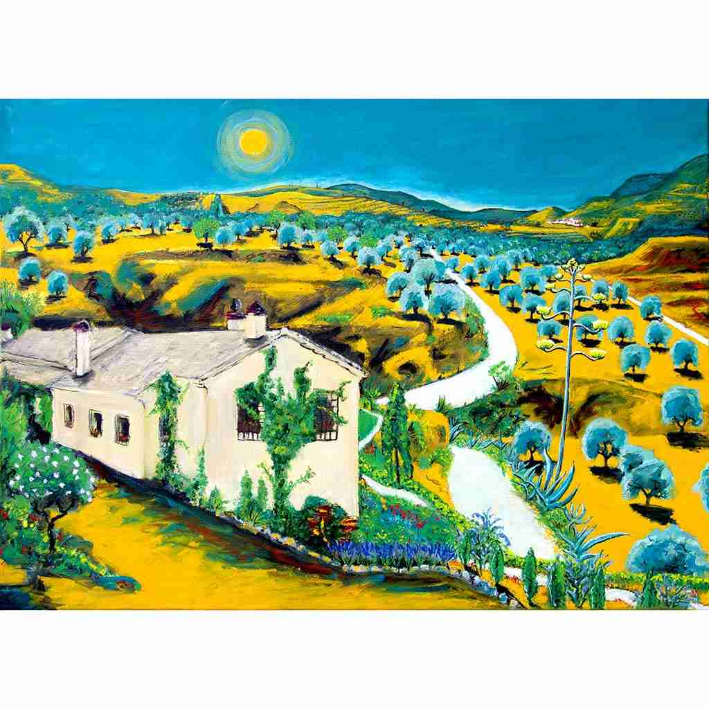 Andalucian landscape painting by Emma Plunkett
