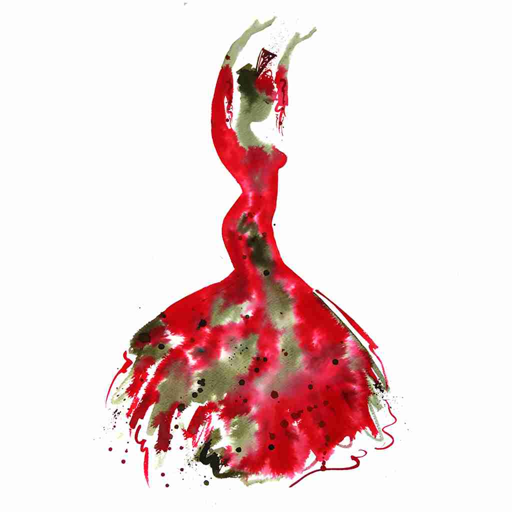 red and sepia ink painting of a flamenco dancer