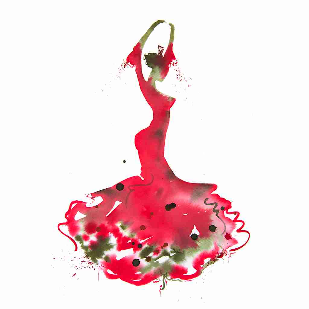 red flamenco dancer watercolour painting