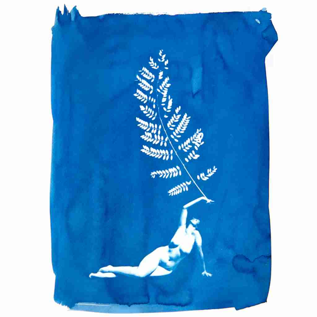 cyanotype nude with pinnate leaf by Emma Plunkett