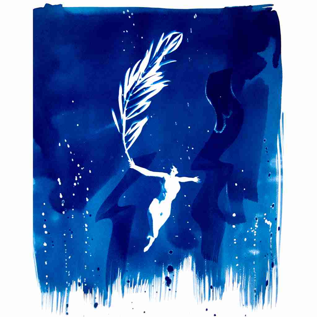 floating nude with olive branch. cyanotype by Emma Plunkett art