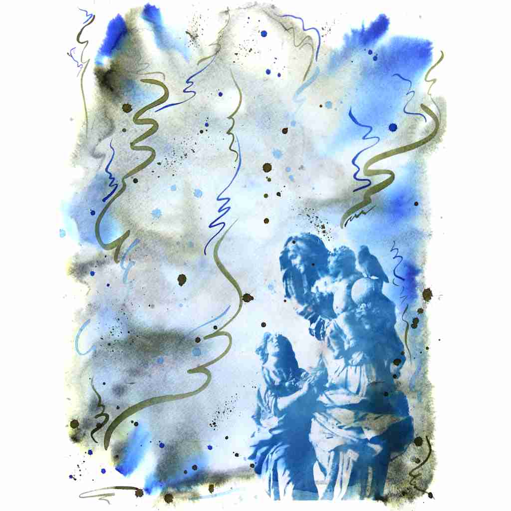 a statue from Charles Bridge, Prague, cyanotype by Emma Plunkett