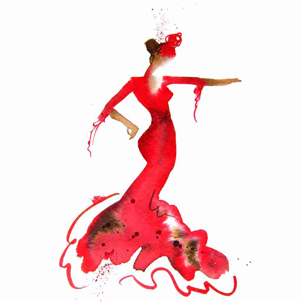red flamenco dancer by Emma Plunkett art