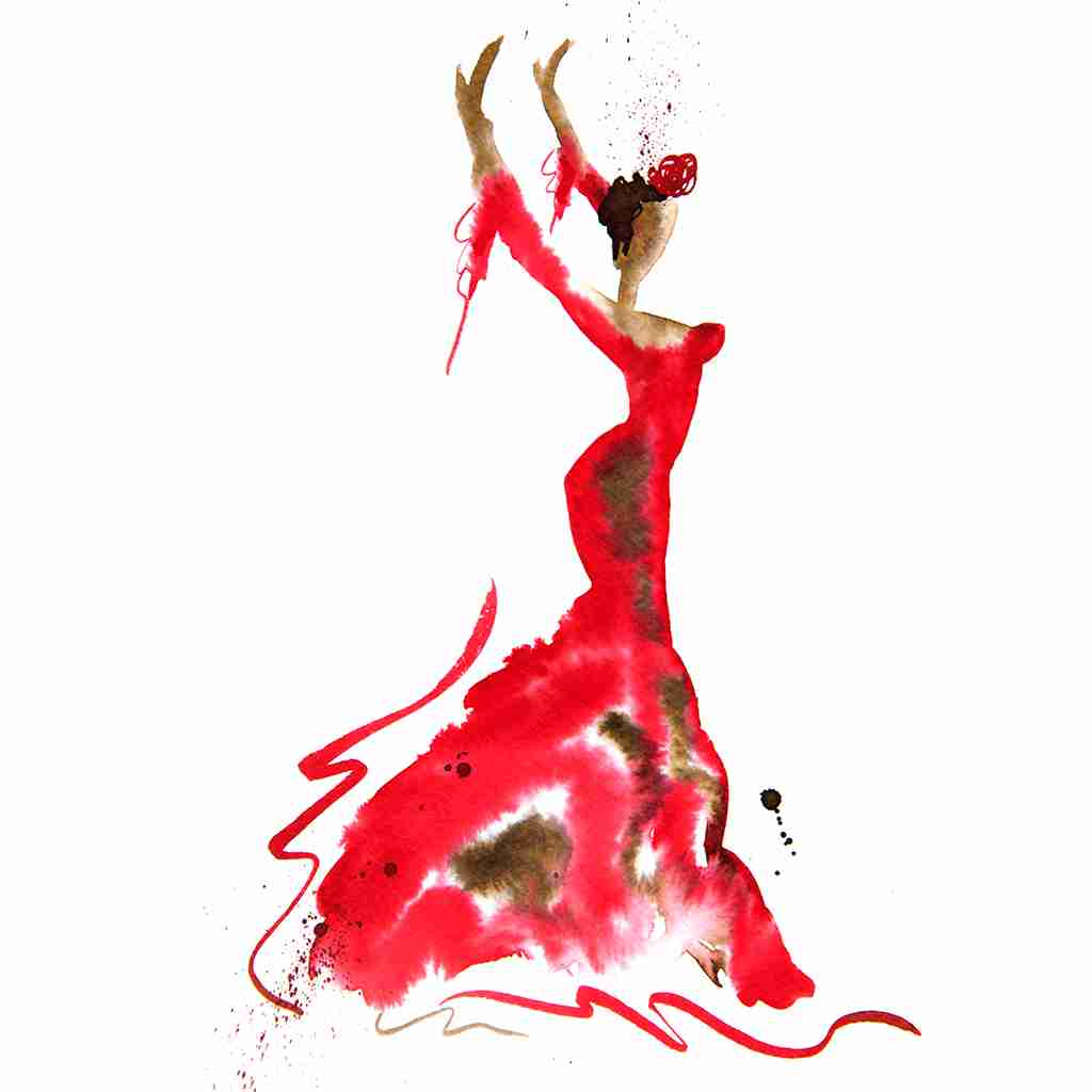 red flamenco dancer painting by Emma plunkett art