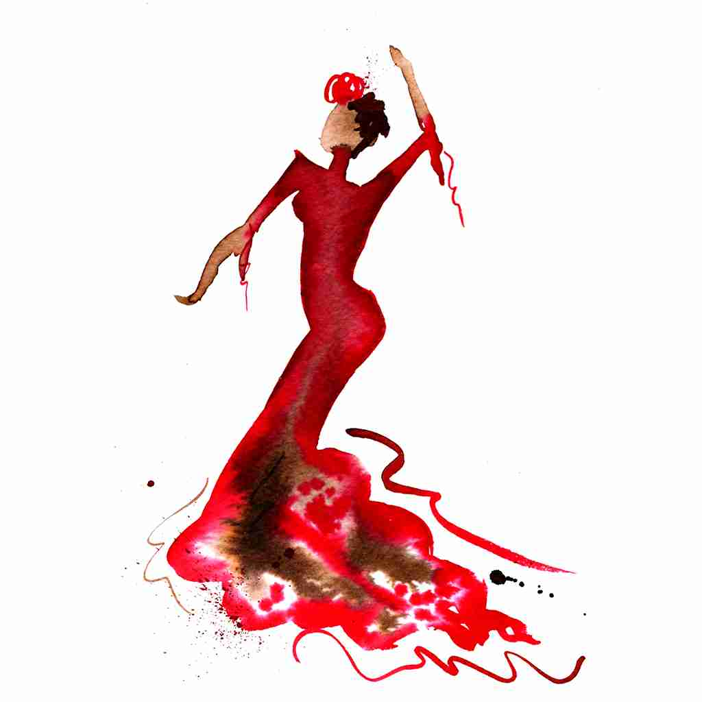 passionate red flamenco dancer watercolor painting by Emma Plunkett art