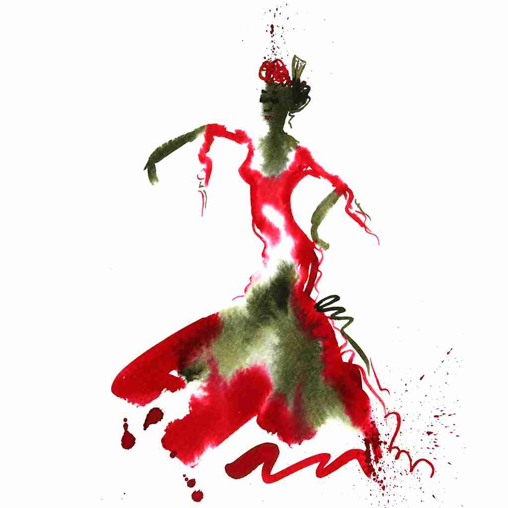 red flamenco dance painting by Emma Plunkett art