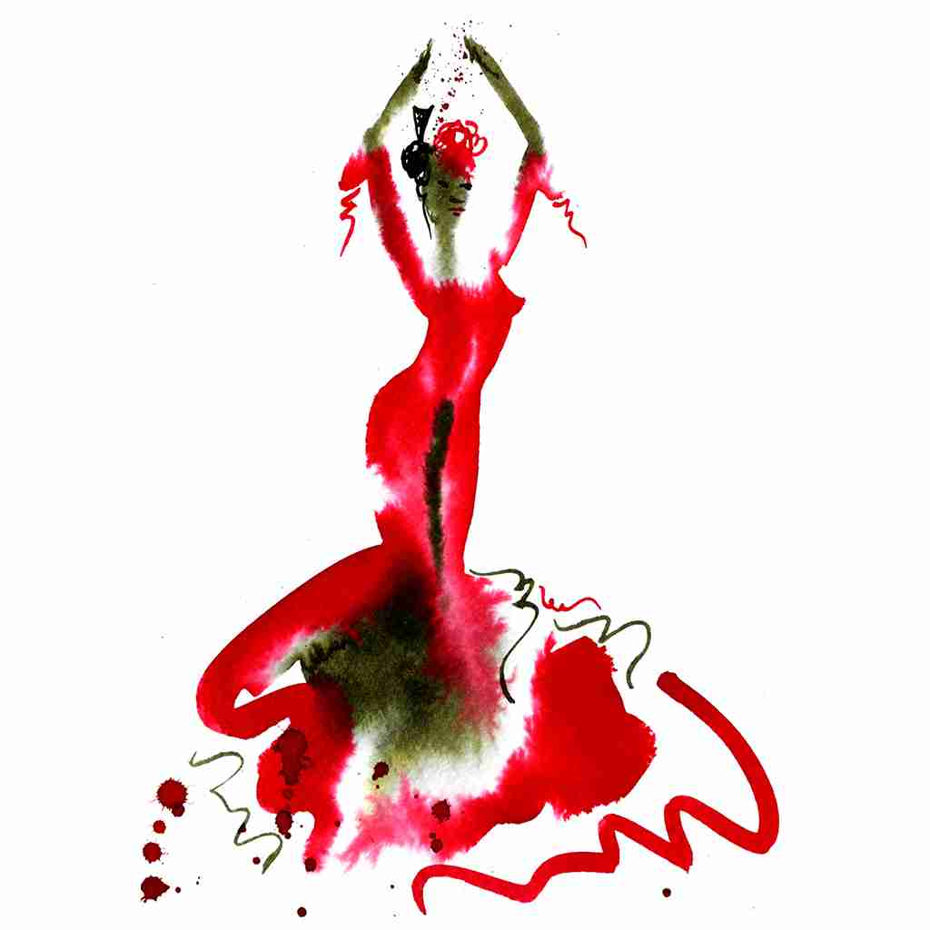 abstract red flamenco dress by Emma Plunkett