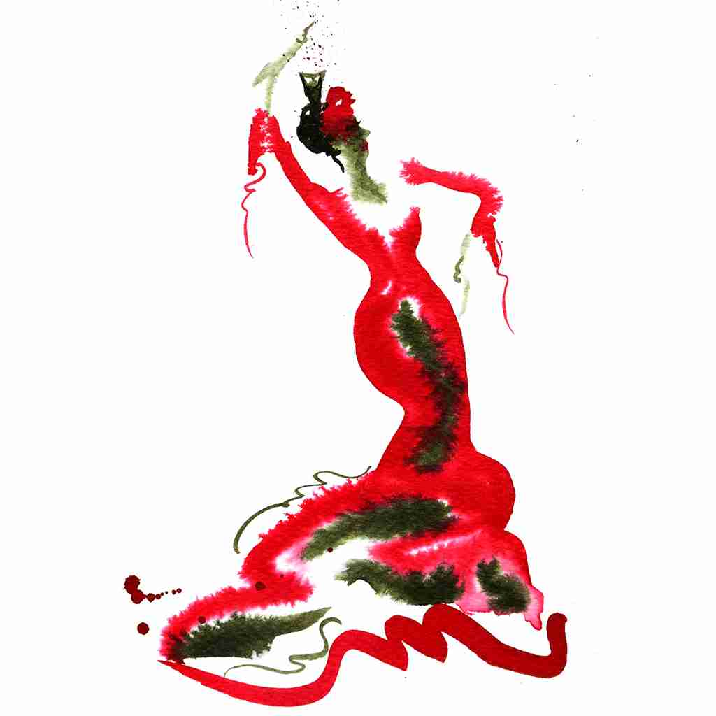 red flamenco painting by Emma Plunkett art