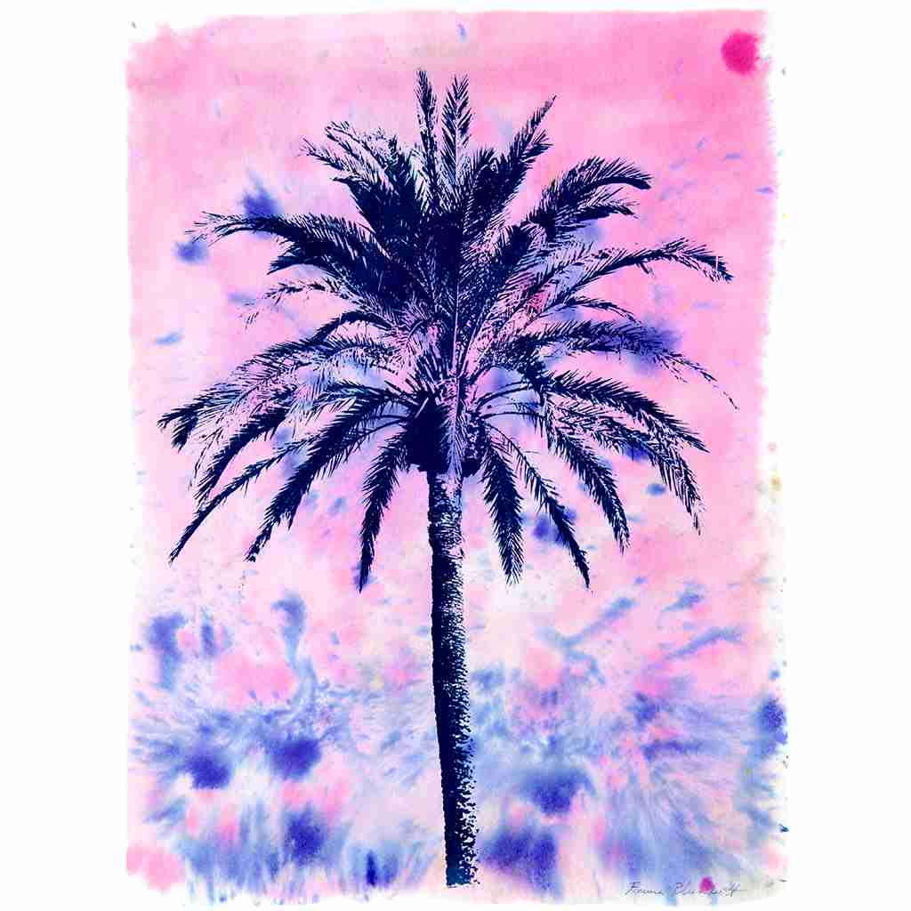 palm tree print with splashy watercolour sky by Emma Plunkett