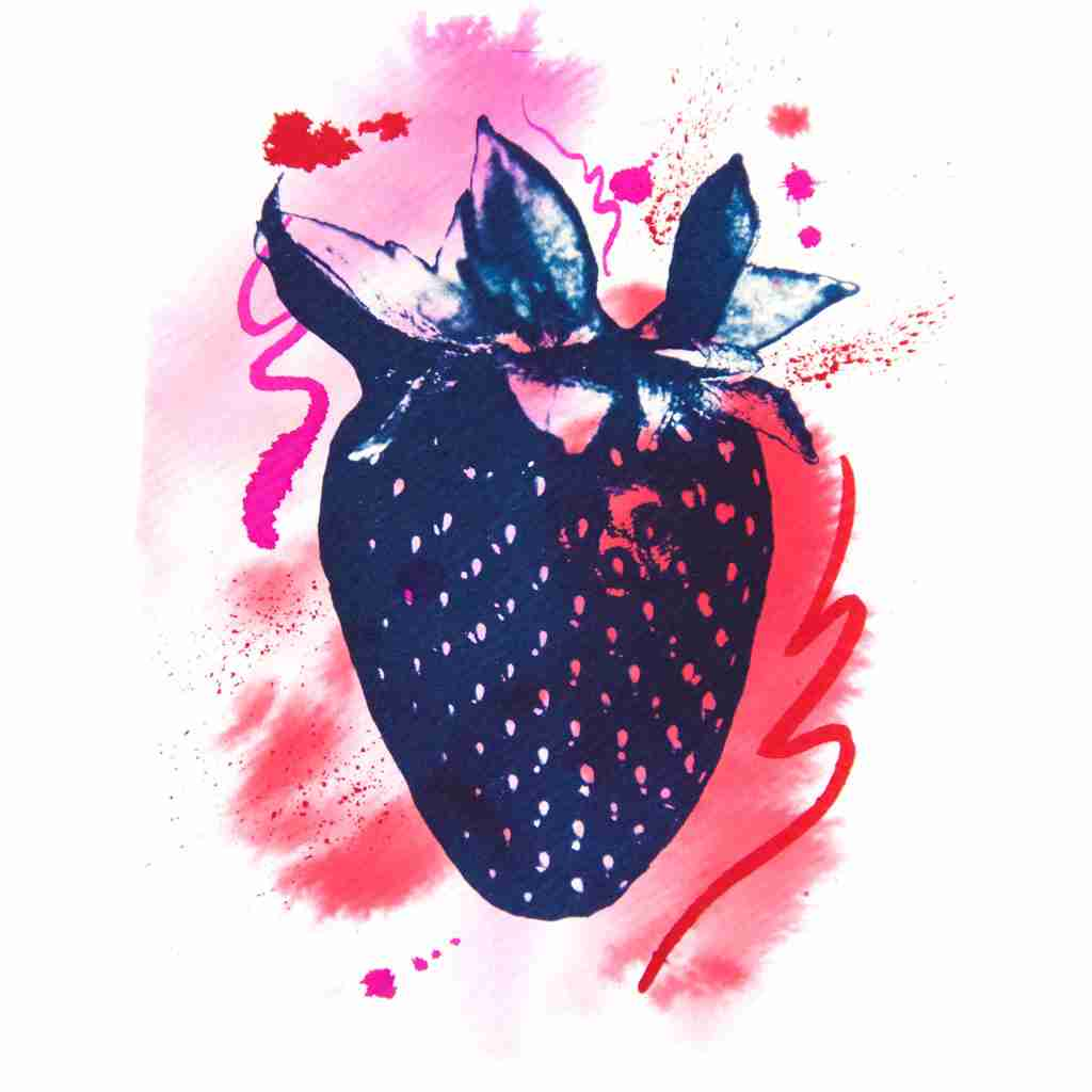cyanotype strawberry with pink splashes by Emma Plunkett Art