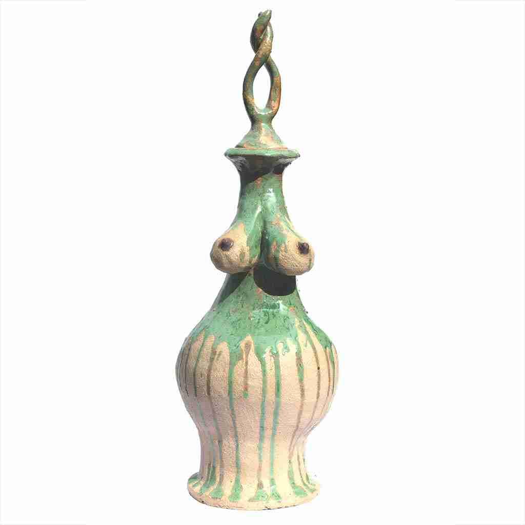partially glazed green boobie pot