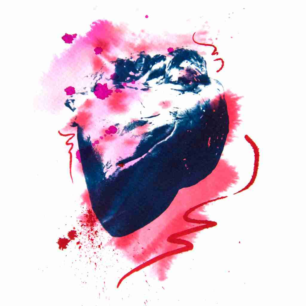 cyanotype of fresh heart with pink splashes by Emma Plunkett art