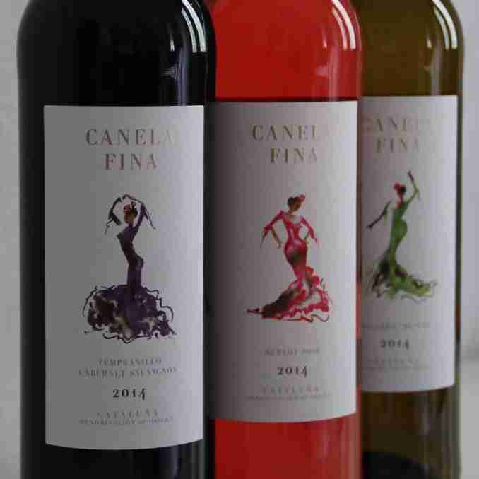 flamenco watercolour-wine label