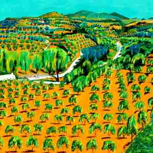 beautiful landscape painting of the orange groves in southern Spain by Emma Plunkett
