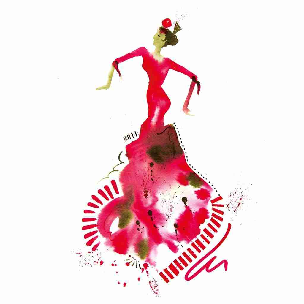 red flamenco watercolour art by Emma Plunkett