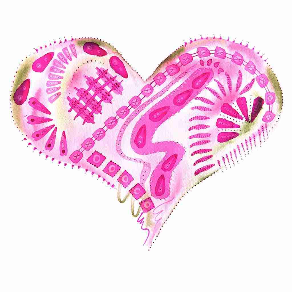 beautiful pink painted abstract love heart