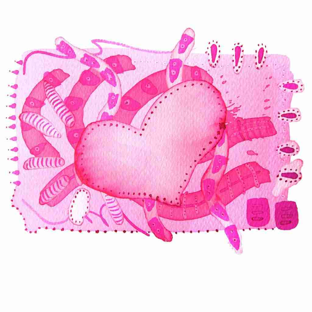 pretty pink abstract heart painting