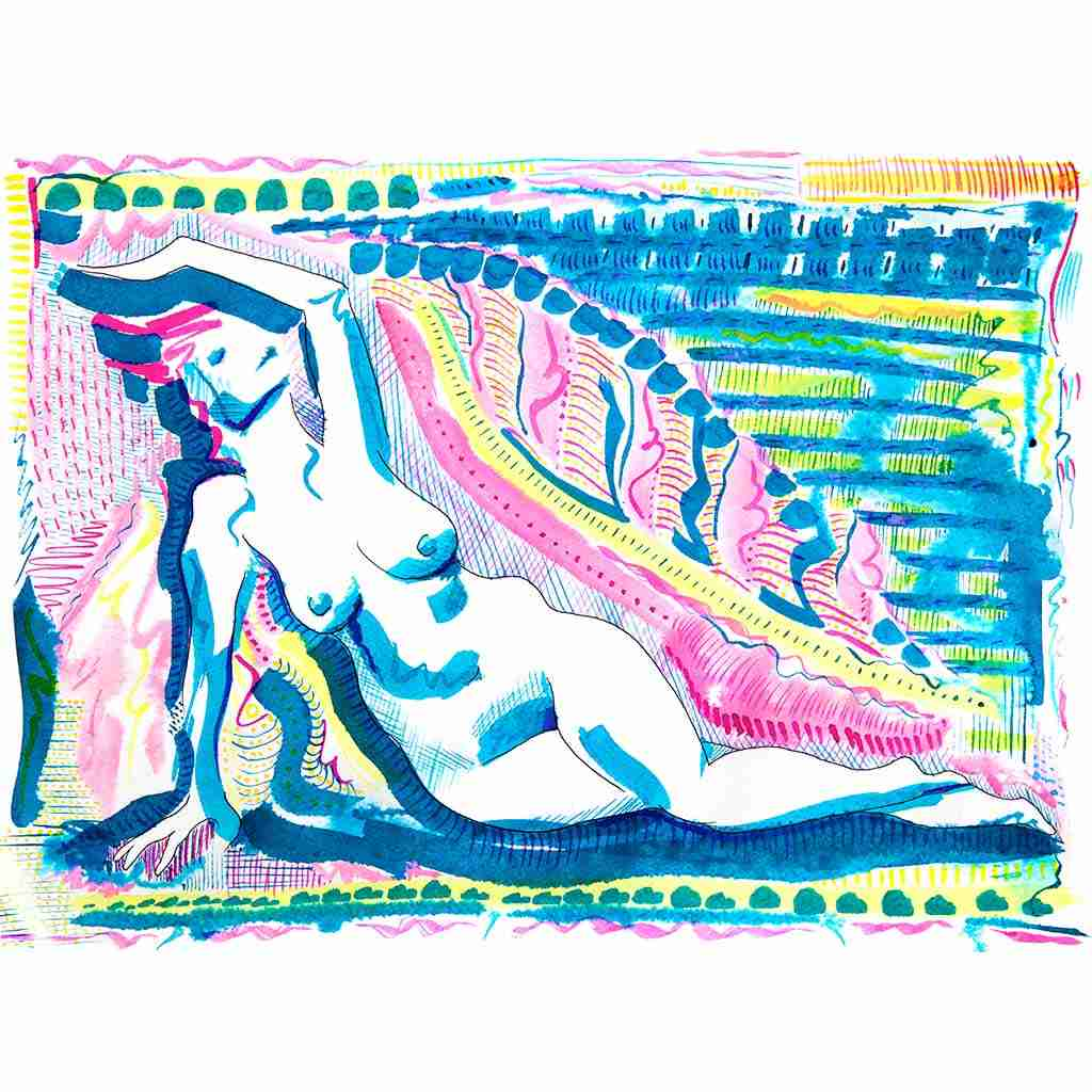 reclining nude watercolour by Emma Plunkett