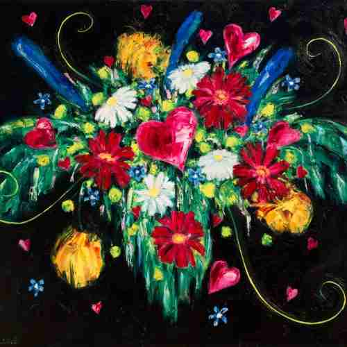 Bouquet of love hearts, oil painting by Emma Plunkett