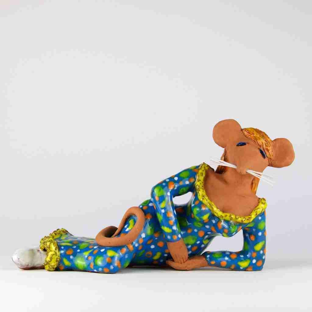 Glamorous mouse sculpture by Emma Plunkett art