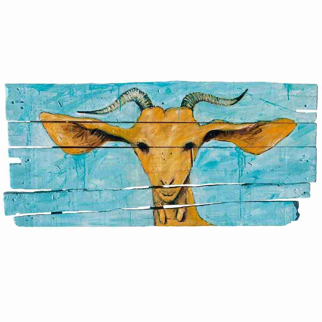 A beautiful goat painted turquoise on an old door