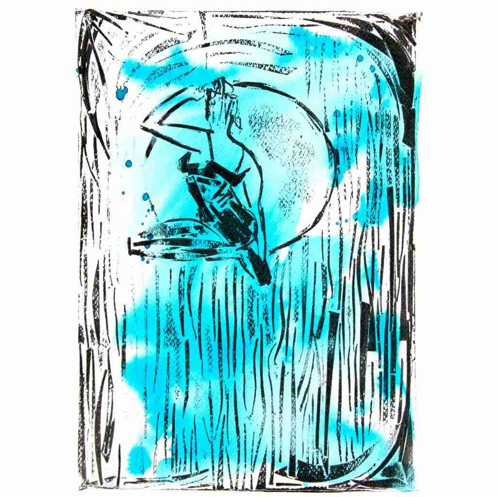 collographic print of a performer by Emma Plunkett
