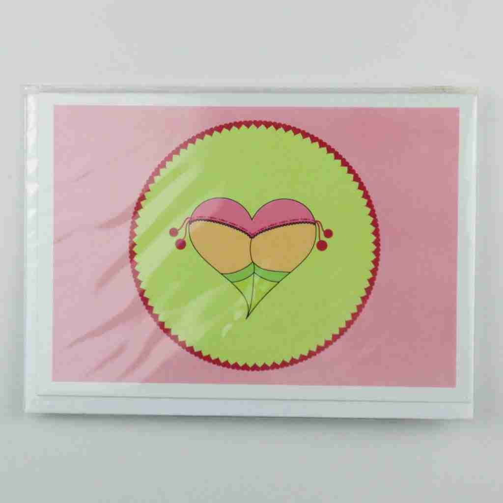 Cheeky Heart Pompom Knickers Greeting Card