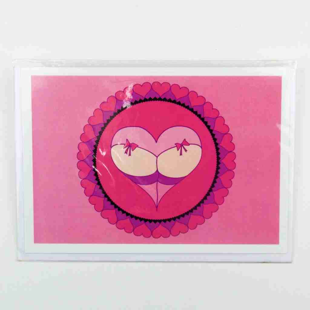 Cheeky Heart pink bows Greeting Card