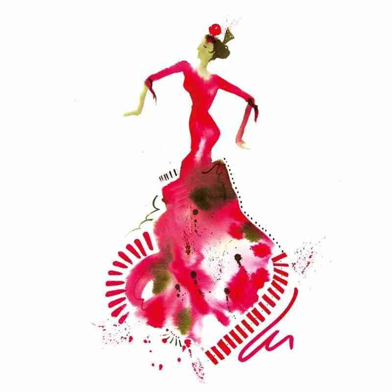 abstract skirt of a flamenco dancer by Emma Plunkett