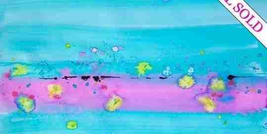 abstract watercolour, turquoise and pink, horizon line