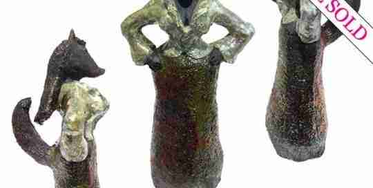 Foxy raku sculpture by Emma Plunkett